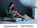 tender girl recently awakens... | Shutterstock . vector #744759601