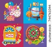 Modern flat design conceptual illustration. Travel, fun and vacation. Casino Gambling - stock vector