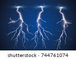 set of lightnings. thunder... | Shutterstock .eps vector #744761074