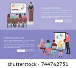 economic education set of web... | Shutterstock .eps vector #744762751