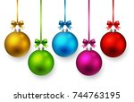 colorful christmas ball and...   Shutterstock . vector #744763195