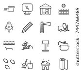 thin line icon set   delivery ... | Shutterstock .eps vector #744766489