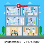 hospital building with floors ... | Shutterstock .eps vector #744767089
