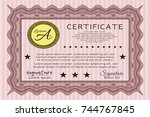 red classic certificate... | Shutterstock .eps vector #744767845