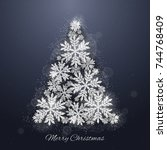 christmas and new year dark... | Shutterstock .eps vector #744768409