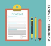the idea of signing a contract. ... | Shutterstock .eps vector #744768769