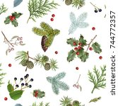 vector seamless pattern with... | Shutterstock .eps vector #744772357