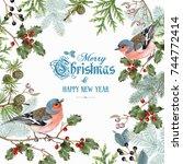 vector vintage christmas frame... | Shutterstock .eps vector #744772414