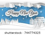 creative happy new year 2018... | Shutterstock .eps vector #744774325