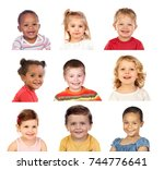 many portraits of different... | Shutterstock . vector #744776641
