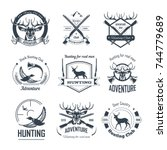 hunting club icons hunt... | Shutterstock .eps vector #744779689