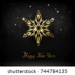 shining gold texture snowflake... | Shutterstock .eps vector #744784135