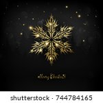 shining gold texture snowflake... | Shutterstock .eps vector #744784165
