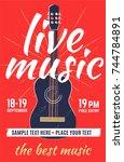 live music. vector poster ... | Shutterstock .eps vector #744784891