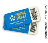 two cinema vector tickets... | Shutterstock .eps vector #744784897