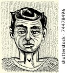 young man portrait - monochrome illustration - stock vector