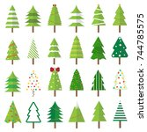christmas tree set  vector... | Shutterstock .eps vector #744785575