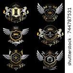 vintage decorative heraldic...   Shutterstock .eps vector #744787531