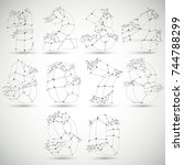 abstract 3d faceted monochrome... | Shutterstock .eps vector #744788299