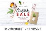 merry christmas sale background.... | Shutterstock .eps vector #744789274