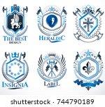 set of vector vintage emblems... | Shutterstock .eps vector #744790189