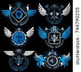 vector classy heraldic coat of... | Shutterstock .eps vector #744790255