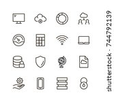databse icon set. collection of ... | Shutterstock .eps vector #744792139