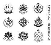 royal symbols  flowers  floral... | Shutterstock .eps vector #744793159