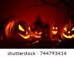 halloween pumpkins of nightly...   Shutterstock . vector #744793414