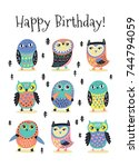 happy birthday card with cute... | Shutterstock .eps vector #744794059