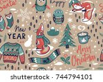 seamless pattern with winter... | Shutterstock .eps vector #744794101