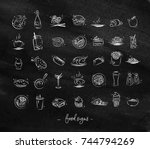 set of food icons drawing with... | Shutterstock .eps vector #744794269
