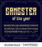 gold metallic font set. letters ... | Shutterstock . vector #744795001