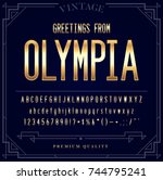 gold metallic font set. letters ... | Shutterstock . vector #744795241