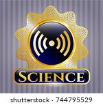 gold emblem or badge with... | Shutterstock .eps vector #744795529