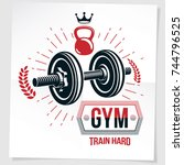 weight lifting championship... | Shutterstock .eps vector #744796525