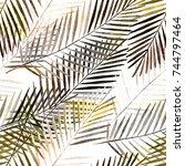 seamless tropical pattern .... | Shutterstock . vector #744797464