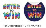 enter to win raster sign set | Shutterstock . vector #744797467
