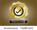 gold emblem with tick icon and ... | Shutterstock .eps vector #744801631