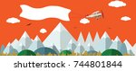 plane with white banner flying... | Shutterstock .eps vector #744801844