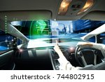 electric car or  intelligent... | Shutterstock . vector #744802915