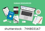 human resources  top view of a...   Shutterstock .eps vector #744803167