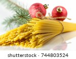 a festive dinner on the eve of... | Shutterstock . vector #744803524