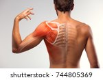 man view from back. blades ... | Shutterstock . vector #744805369