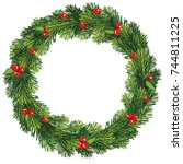 new year and christmas wreath.... | Shutterstock .eps vector #744811225