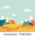 autumn mountain landscape.... | Shutterstock .eps vector #744813061