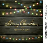 text merry christmas and happy... | Shutterstock .eps vector #744813217