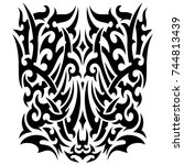 tribal tattoo on the back ... | Shutterstock . vector #744813439