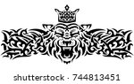 tribal tattoo tiger with crown...   Shutterstock . vector #744813451