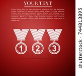 medal set icon isolated on red... | Shutterstock .eps vector #744813895